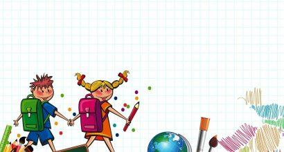 Piirrettyjä lapsia kävelemässä kirjojen ja koulutarvikkeiden päällä