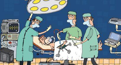 Piirroksessa lääkäreitä leikkaussalissa