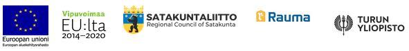 Logot: Euroopan unioni, Vipuvoimaa EU:lta 2014-2020, Satakuntaliitto, Rauman kaupunki, Turun yliopisto