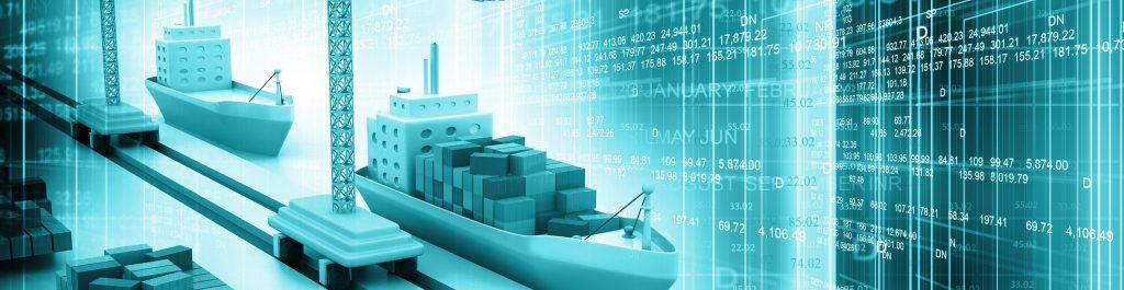 Laivojen teknistä suunnittelua kuvaava havainnekuva, jossa on kaksi digitaalisesti piirrettyä laivaa satamassa ja taustalla on numerosarjoja