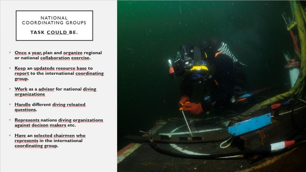 A person in diving gear underwater in rescue operation.