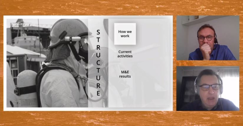 A screenshot of a slide of a chemical diver with the gear on on the left and two pictures of two men on the right.