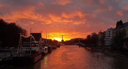 River Aura in summer sunset
