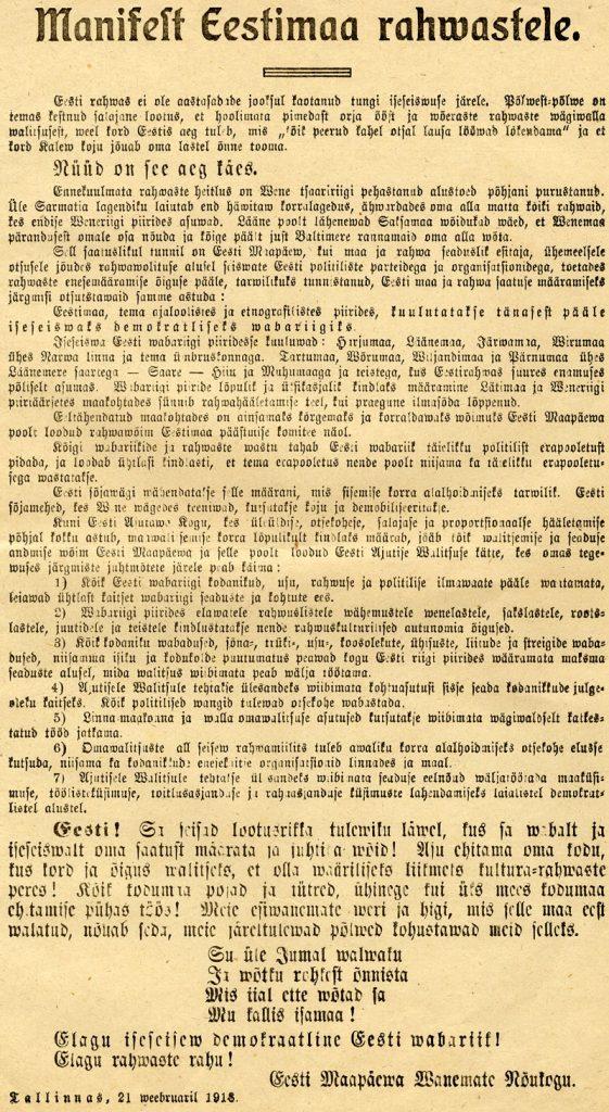 Viron itsenäisyysjulistus vuodelta 1918. Kuva: Wikimedia Commons.