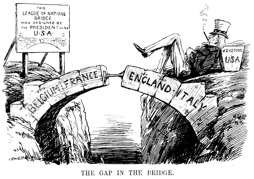 Kansainliiton heikkoutta esittävä karikatyyri englantilaisessa Punch-lehdessä, 1919. Vaikka Kansainliitto oli Woodrow Wilsonin kuningasajatus, Yhdysvallat eivät liittyneet Kansainliittoon, koska senaatti ei ratifioinut rauhansopimusta. Kuva: Wikimedia Commons.