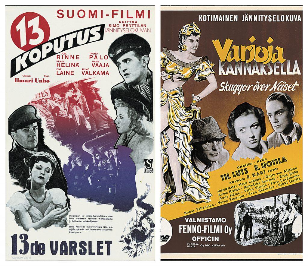 Kollaasi elokuvien Kolmastoista koputus ja Varjoja kannaksella mainosjulisteista.