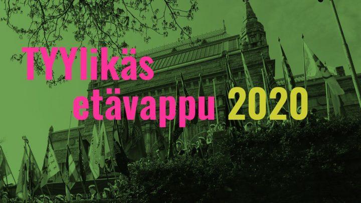 """Kuvituskuvassa teksti """"Tyylikäs etävappu 2020"""" ja taustalla Turun Taidemuseonmäki."""