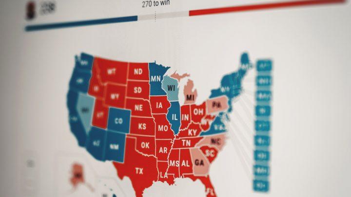USA:n presidentinvaalien äänestystilanne kartalla