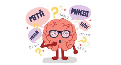 Mielen päällä -hankkeen kuvituksessa antropomorfistinen aivohahmo jonka ympärillä kysymysmerkkejä ja kysyviä puhekuplia