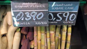 Banaaninkukkia ja sokeriruokoa
